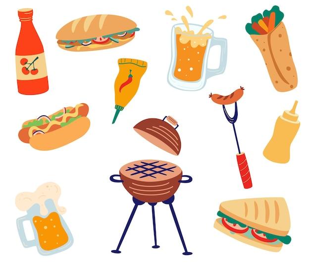Set con barbecue e fast food panini alla griglia hamburger salsicce salse hot dog e birra