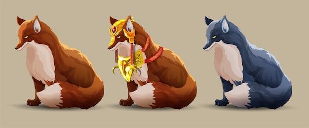 Set con una bella volpi da combattimento si siede. una volpe con una bellissima armatura dorata, una volpe semplice e una volpe scura. animali di fantasia. la saggia volpe guarda avanti. personaggio dei cartoni animati isolato.