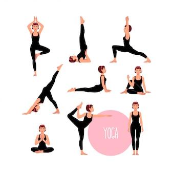 Set con bella donna che esercita yoga. diverse pose yoga.