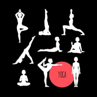 Set con bella donna che esercita yoga. diverse pose yoga. Vettore Premium