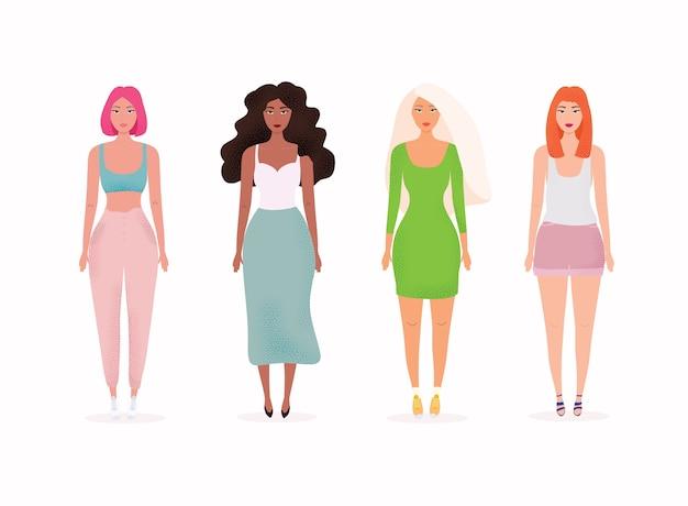Set con illustrazione di belle donne