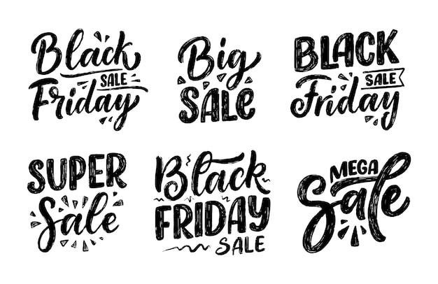 Set con scritte black friday in stile moderno di calligrafia.