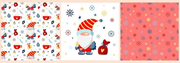 Set con gnomo di natale in abito rosso con regali di natale fiocchi di neve e stelle posterpattern