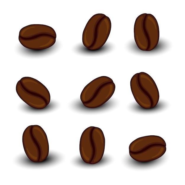 Set con chicchi di caffè. stile cartone animato. illustrazione.