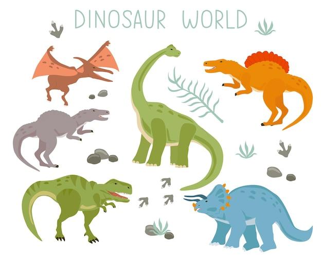 Un set con una collezione di dinosauri dei cartoni animati isolati su uno sfondo bianco illustrazione vettoriale