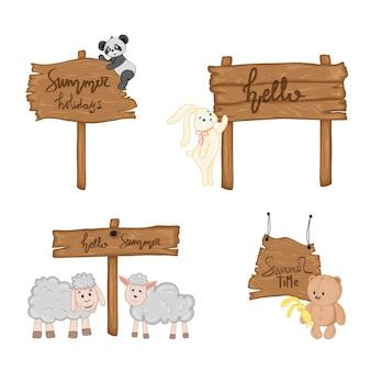 Set con simpatici animali vicino all'insegna di legno con le iscrizioni sul tema estivo nel vettore. illustrazione del fumetto.