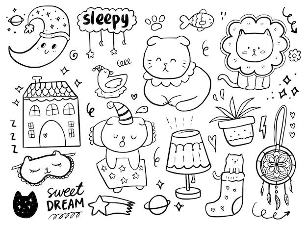 Set con cute cat dormire isolato su bianco