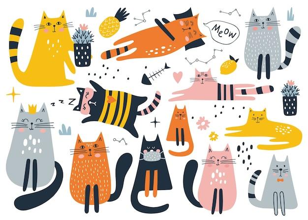 Set con simpatico gatto su uno sfondo bianco. stampa per bambini.