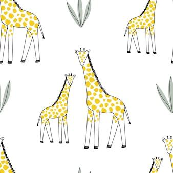 Set con un simpatico animale giraffa su sfondo bianco illustrazione vettoriale