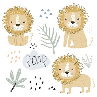 Un set con simpatici animali leone ed elementi decorativi per la stampa illustrazione vettoriale