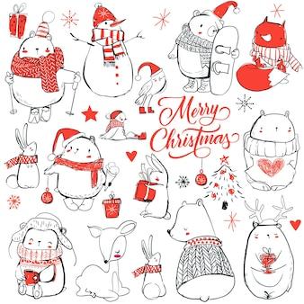 Set con simpatici animali dei cartoni animati invernali. illustrazione vettoriale
