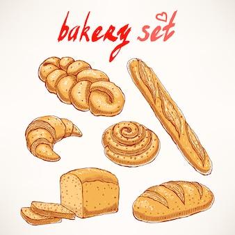 Set con diversi tipi di deliziosi pasticcini disegnati a mano