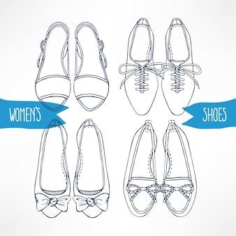 Set con diverse scarpe schizzo su uno sfondo bianco