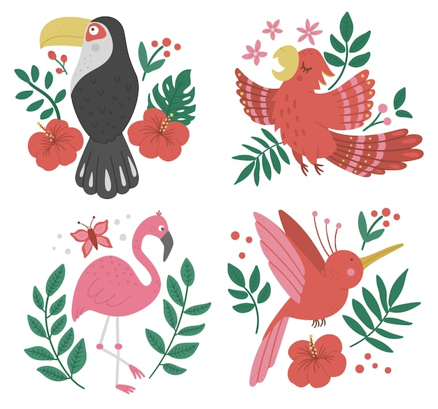 Set con uccelli esotici, foglie, fiori