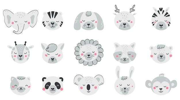 Set con facce simpatici animali per bambini. collezione di personaggi di animali per bambini in stile piatto. illustrazione in bianco e nero con gatto, cane, leone, orso, volpe isolato su priorità bassa bianca. vettore