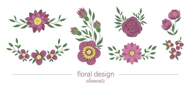 Set con elementi decorativi floreali orizzontali e verticali