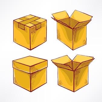Set con quattro scatole per schizzi. scatole aperte e chiuse. illustrazione disegnata a mano