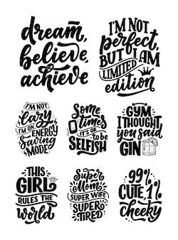Set con composizioni di lettere disegnate a mano divertenti.