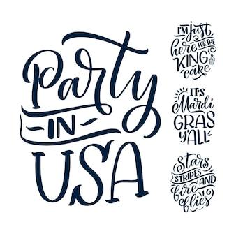 Set con citazioni scritte disegnate a mano divertenti sul mardi gras.