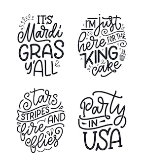 Set con citazioni scritte disegnate a mano divertenti sul martedì grasso