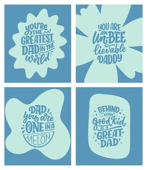 Set con citazioni scritte disegnate a mano divertenti per il biglietto di auguri per la festa del papà.