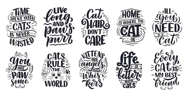 Set con citazioni scritte divertenti sui gatti per la stampa in stile disegnato a mano.
