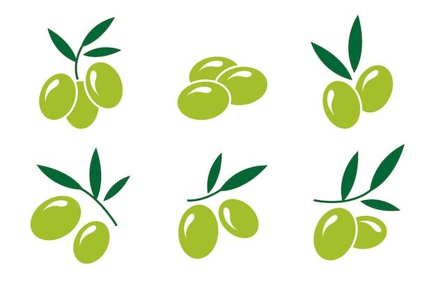 Set con icone di olive verdi in uno stile piatto illustrazione vettoriale isolato su sfondo bianco