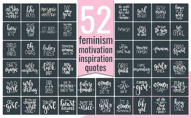 Set con poster o carte di tipografia femminismo disegnati a mano. frase scritta concettuale, disegno calligrafico con lettere a mano. lettering.