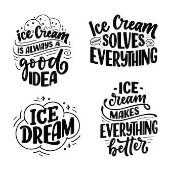 Set con composizioni scritte disegnate a mano sul gelato. slogan stagionali divertenti.