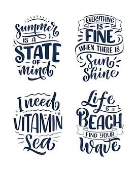 Set con composizioni di lettere disegnate a mano sull'estate. slogan divertenti della stagione. citazioni di calligrafia isolate.