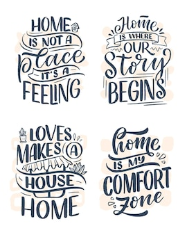 Set con citazioni scritte disegnate a mano in stile calligrafico moderno su home.