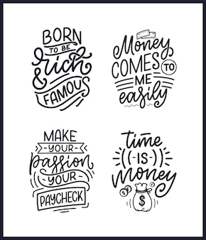 Set con citazioni scritte disegnate a mano in moderno stile calligrafico sul denaro. slogan per la stampa e la progettazione di poster. illustrazione vettoriale