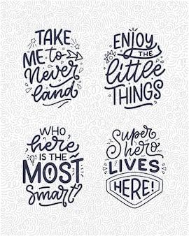 Set con citazioni scritte disegnate a mano in stile calligrafico moderno per la camera dei bambini. slogan per stampe di magliette e poster per interni. illustrazione vettoriale