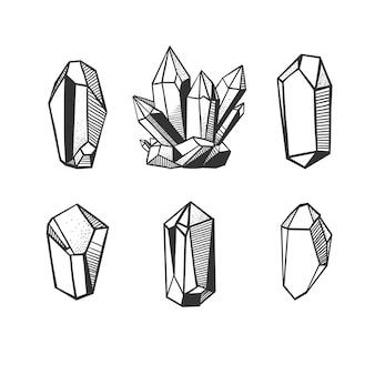 Set con cristalli vettoriali disegnati a mano e minerali isolati su bianco.