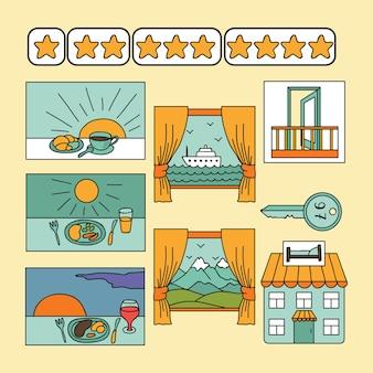 Impostato con le icone dell'hotel Vettore Premium