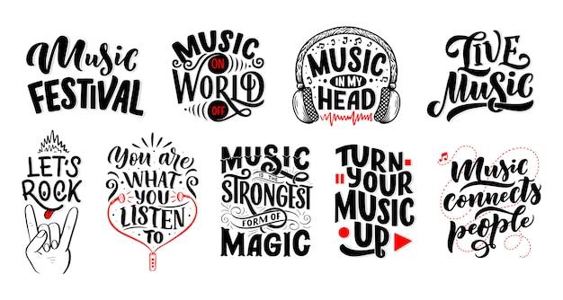 Set con citazioni di ispirazione sulla musica. illustrazione d'annata disegnata a mano con iscrizione.