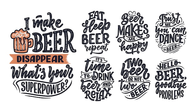 Set con citazioni scritte sulla birra in stile vintage. poster calligrafici per la stampa di magliette. slogan disegnati a mano