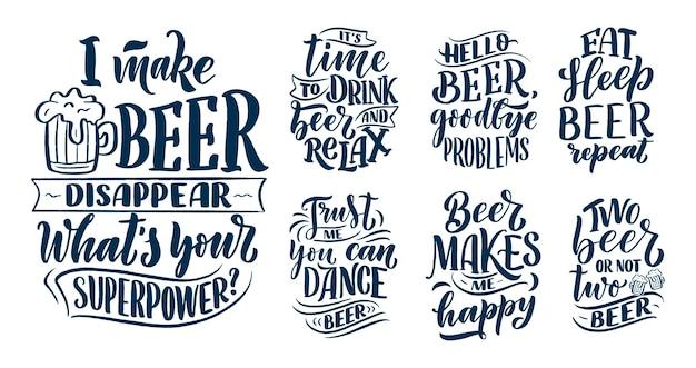 Set con citazioni scritte sulla birra in stile vintage.