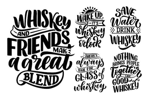 Set con citazioni scritte sul whisky in stile vintage. Vettore Premium