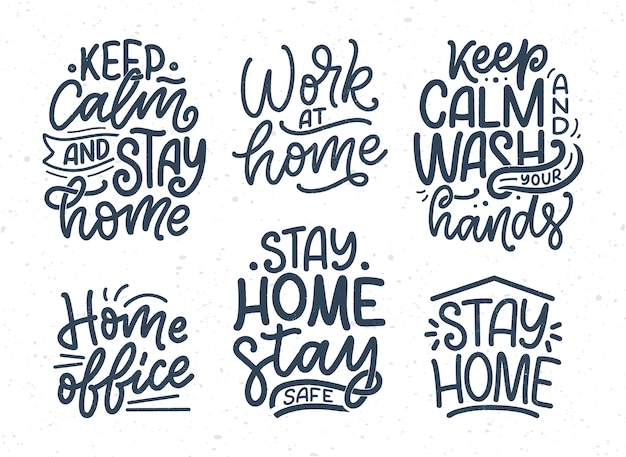 Set con scritte slogan su rimanere a casa, tipografia