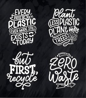Set con scritte slogan sul riciclaggio dei rifiuti. concetto di natura basato sulla riduzione dei rifiuti e sull'uso o riutilizzabilità dei prodotti. citazioni motivazionali per la scelta di uno stile di vita eco-compatibile