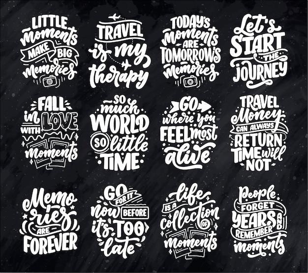 Set con citazioni di ispirazione di stile di vita su viaggi e bei momenti