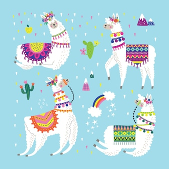 Set con lama, cactus, arcobaleno ed elementi disegnati a mano.