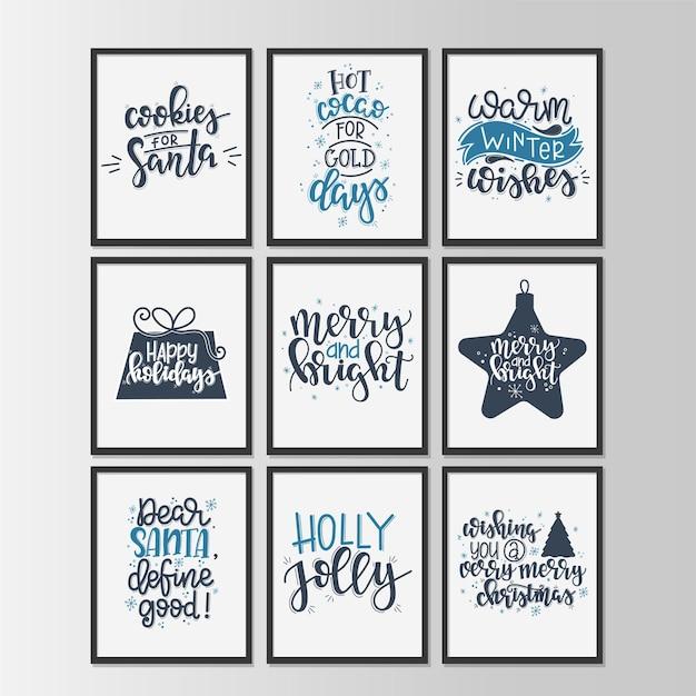 Set con tag regalo vintage di buon natale e felice anno nuovo e carte con calligrafia. lettere scritte a mano.