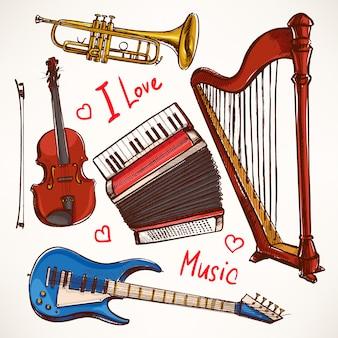 Set con strumenti musicali. fisarmonica, violino, basso elettrico. illustrazione disegnata a mano.
