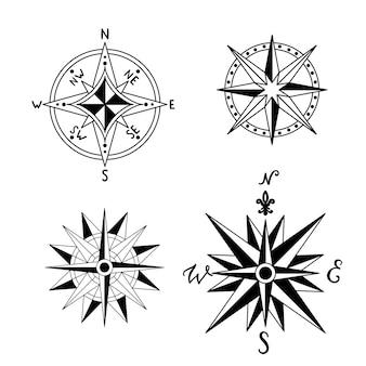 Set con rosa dei venti vintage nautico. disegnato a mano retrò
