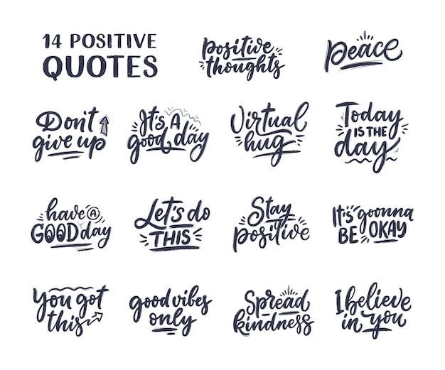 Impostare con slogan scritte positive in stile moderno. citazioni di calligrafia disegnate a mano.
