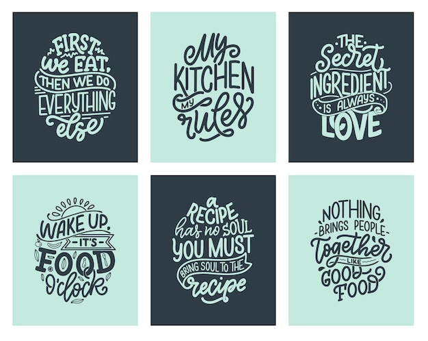 Set con citazioni in stile tipografico unico disegnato a mano, elementi.