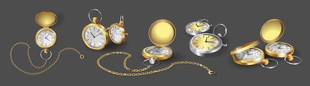 Set con modelli 3d realistici di orologi da tasca in oro, cromo e argento. collezione di orologi da tasca classici