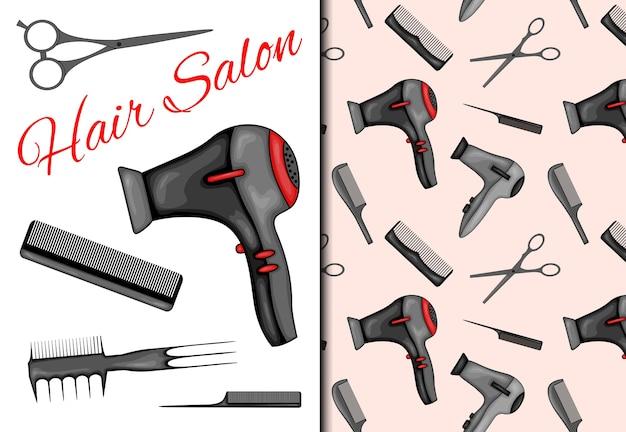 Set con motivo senza cuciture e articoli per parrucchiere.